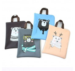 1 Piece Student's Tote Bag Cute Cartoon Bear Files Documents Zipper Bag