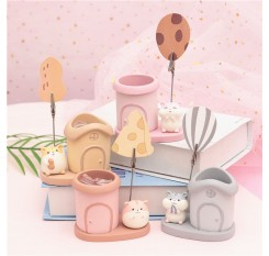 1 Piece Cartoon Hamster Pencil Holder With Memo Clip Creative Birthday Gift