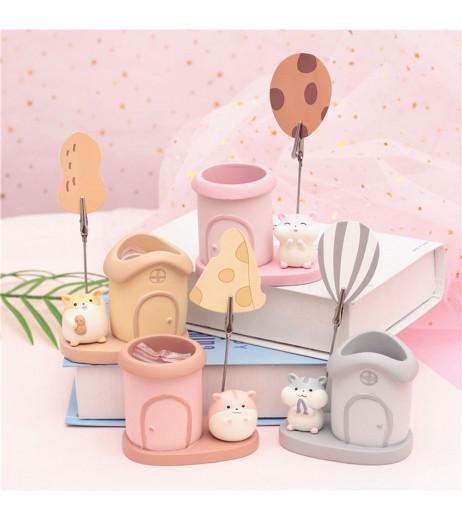1 Piece Cartoon Hamster Pencil Holder With Memo Clip Creative Birthday Gift