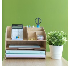 1 Piece Files Organizer Wood DIY Combination Office Storage Box