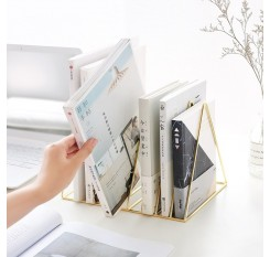 1 Piece Metal Bookend Fashion Triangle Shape Desktop Books Magazines Organizer