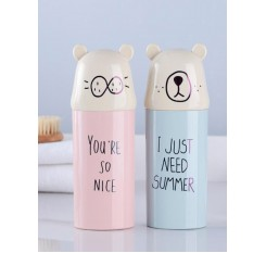 1Pc Toothbrush Holder Portable Letter Pattern Chic Travel Toothbrush Storage Box