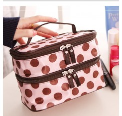1 Piece 2-Tier Makeup Box Polka Dots Cosmetic Container Organizer
