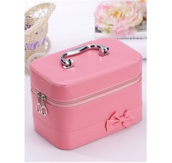 1 Pc Cosmetics Bag Solid Color Bow Decor Inner Floral Make-up Bag