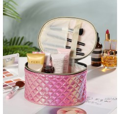1 Piece Shiny Round Cosmetic Bag PU Leather Portable Makeup Container
