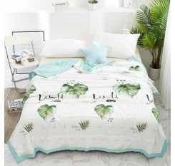 1 Pc Comforter Fresh Style Plant Pattern Soft Comfy Summer Quilt
