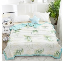 1 Pc Comforter Fresh Style Plant Pattern Soft Cozy Summer Quilt