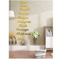 10 Pcs Removable Mirror Surface Stickers Brief English Saying Pattern Multi-Use Wall Stickers
