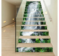 13Pcs Self-Adhesive Stairs Stickers 3D Nature Waterfall Waterproof Living Room Stairs Decal