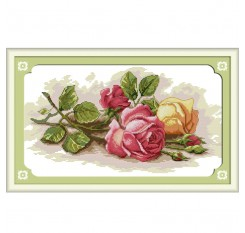 1 Set Wall Hanging Cross-Stitch Sweet DIY Rose Pattern Embroidery Handicrafts Wall Decor