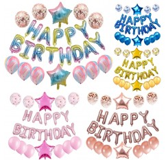 1 Set Happy Birthday Balloons Set Letters Balloons Star Foil Balloons Confetti Latex Balloons Set