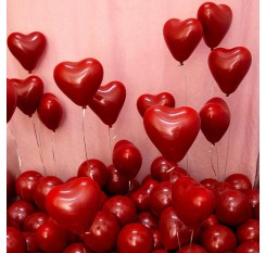 10 Pieces Balloons Double Layer Ruby Heart-Shaped Balloons Wall Decor