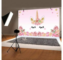 1Pc Birthday Party Photo Backdrop Background Watercolor Flowers Roses Cute Stars Smiling Face Pattern Wall Art