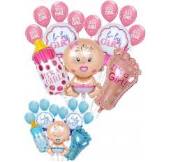 13Pcs Baby Foil Latex Balloon Set Large Baby Bottle Feet Balloon Decoration