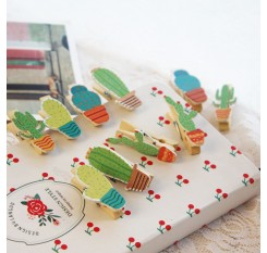 10Pcs Cute Cactus Shape Wood Photo Clips Album Postcard Paper Clamps Pegs