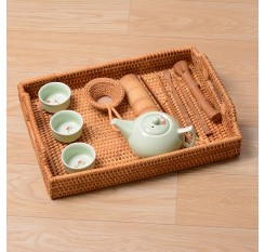 1 Piece Rattan Tray With Handles Tea Cups Serving Plate Desktop Organizer